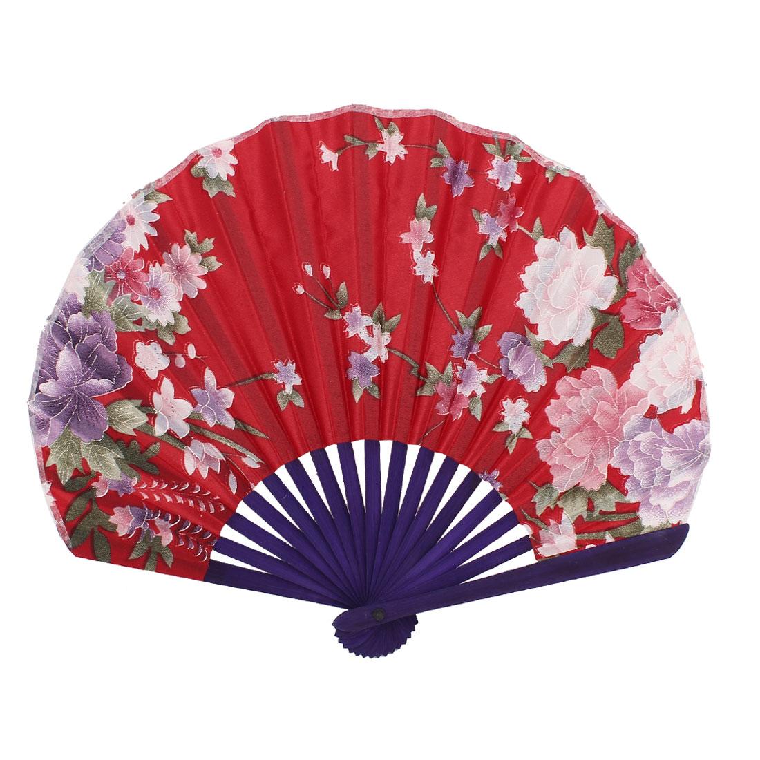 Seashell Shape Flower Pattern Japanese Style Folding Hand Fan Red