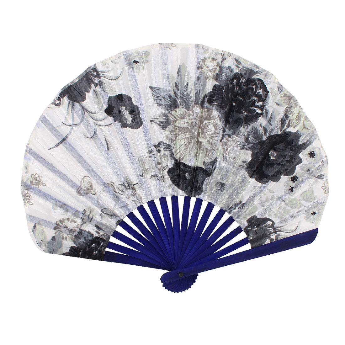 Seashell Shape Flower Pattern Japanese Style Folding Hand Fan White