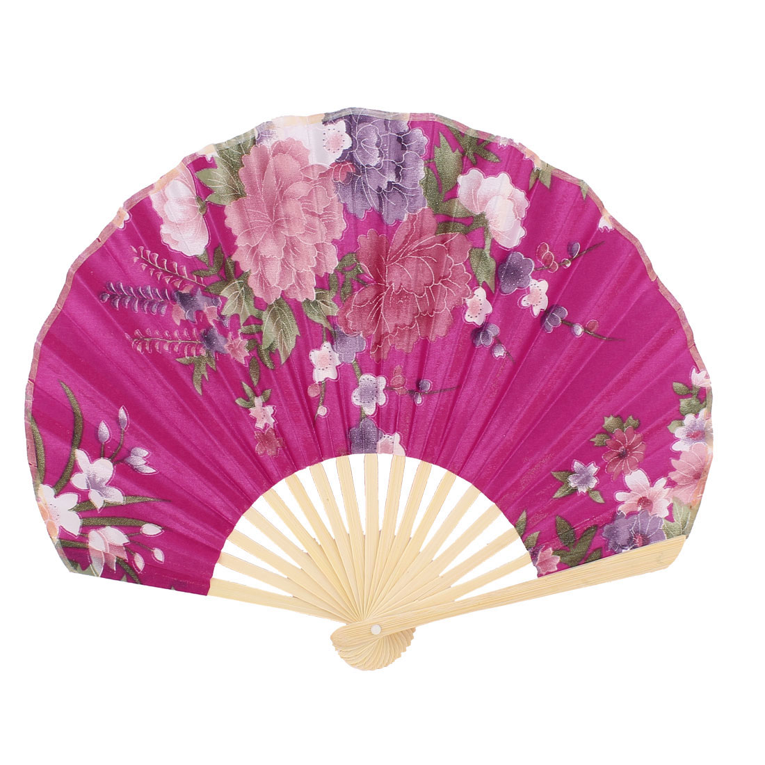 Seashell Design Floral Printed Japanese Style Foldable Hand Fan Fuchsia