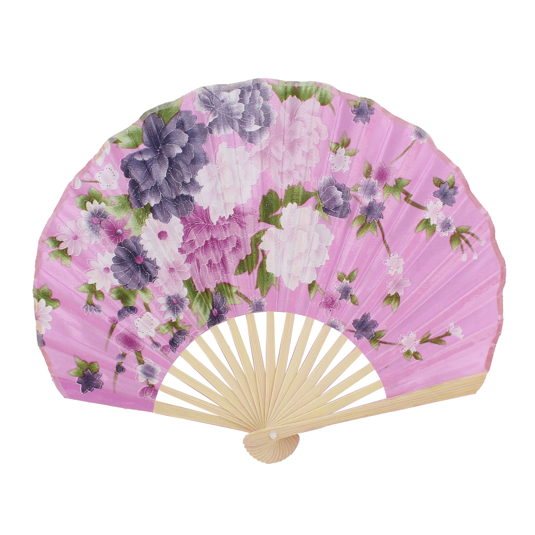 Seashell Design Floral Printed Japanese Style Foldable Hand Fan Pink