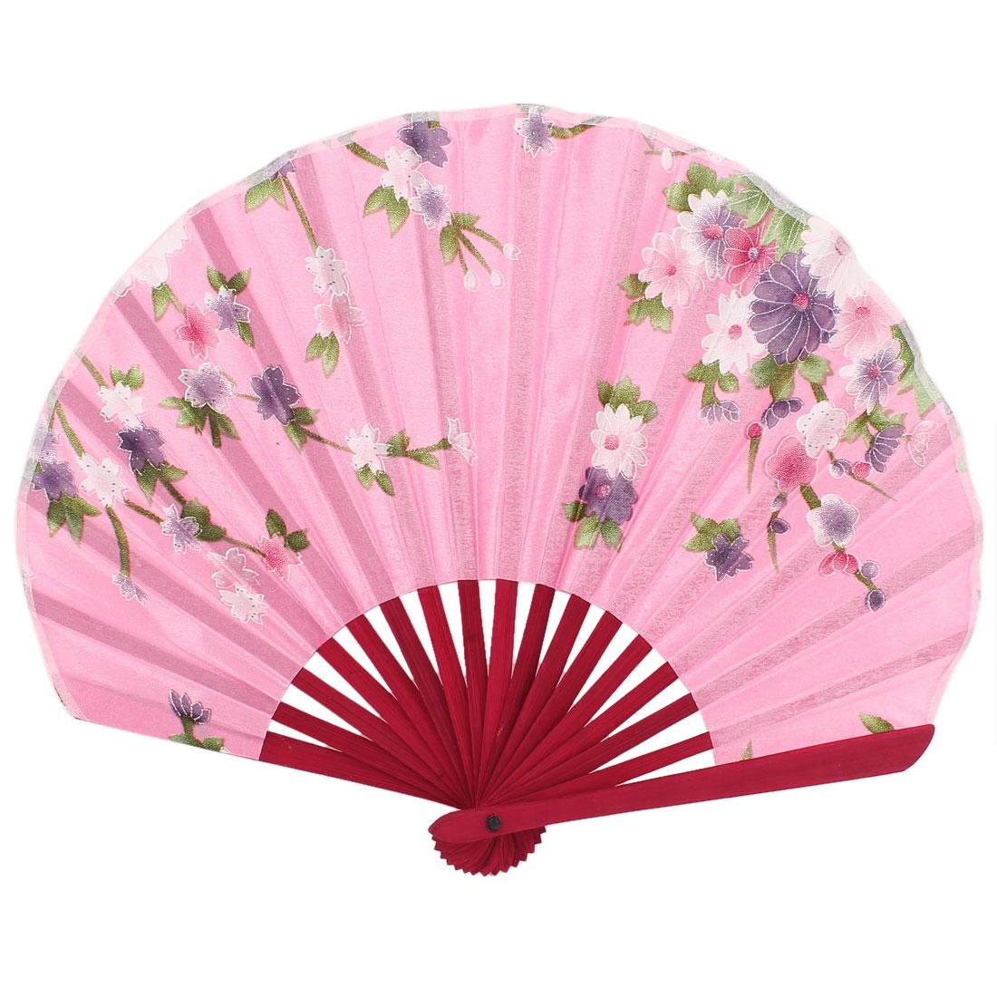 Polyester Flower Printing Seashell Shape Handheld Fan Pink Purple