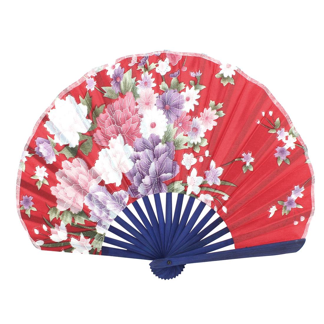 Seashell Style Flower Pattern Wedding Party Folding Hand Fan Red