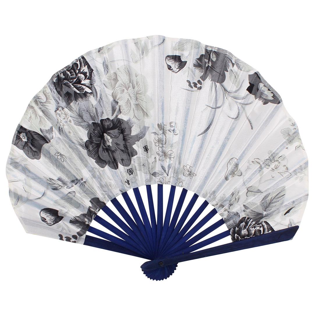 Seashell Style Flower Pattern Wedding Party Folding Hand Fan White