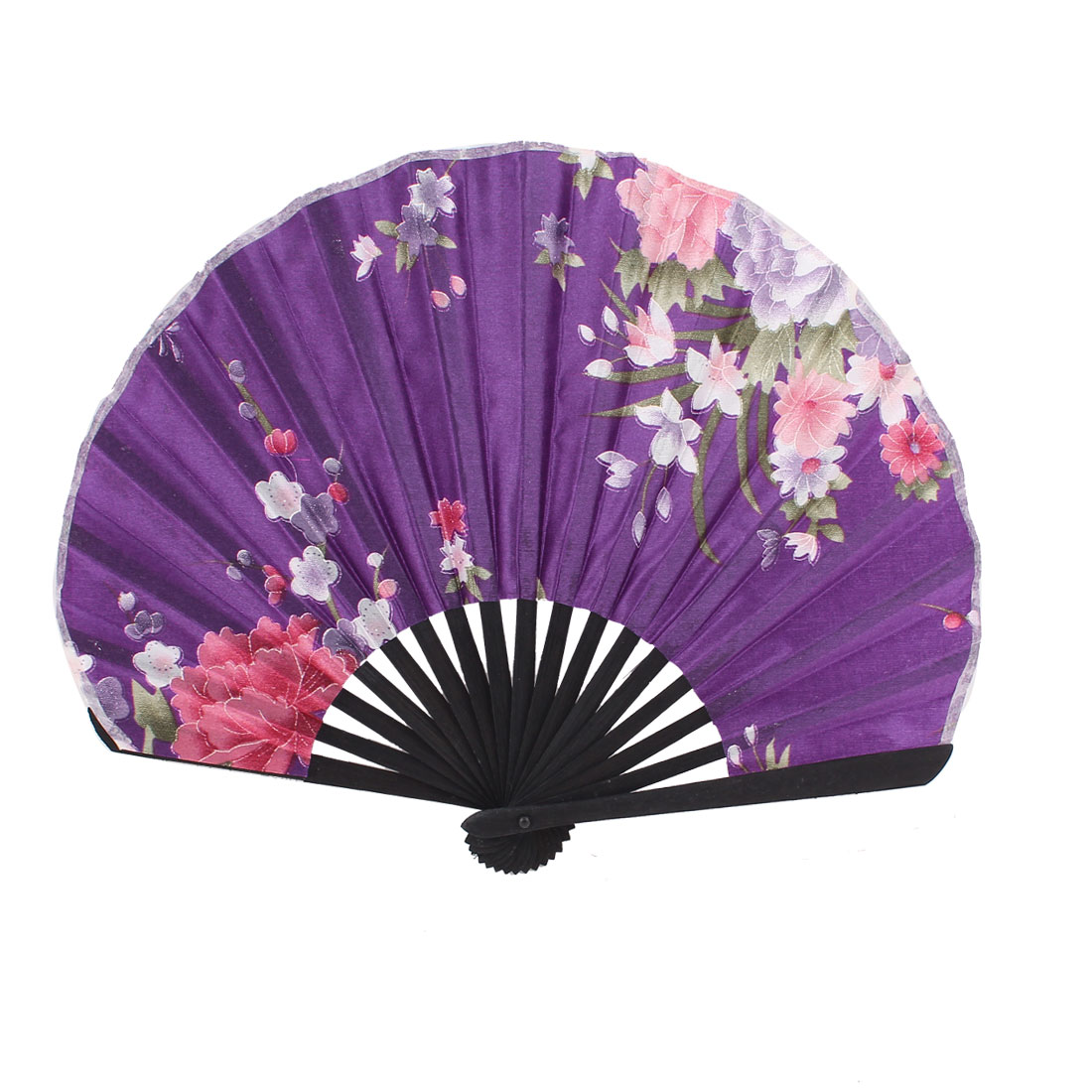 Bamboo Rim Oriental Chinese Style Dancing Decor Folded Hand Fan Purple
