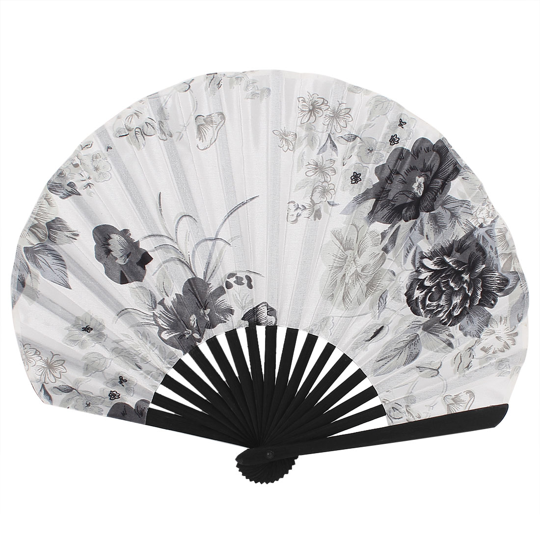 Japanese Style Folded Polyester Floral Pattern Party Hand Fan White