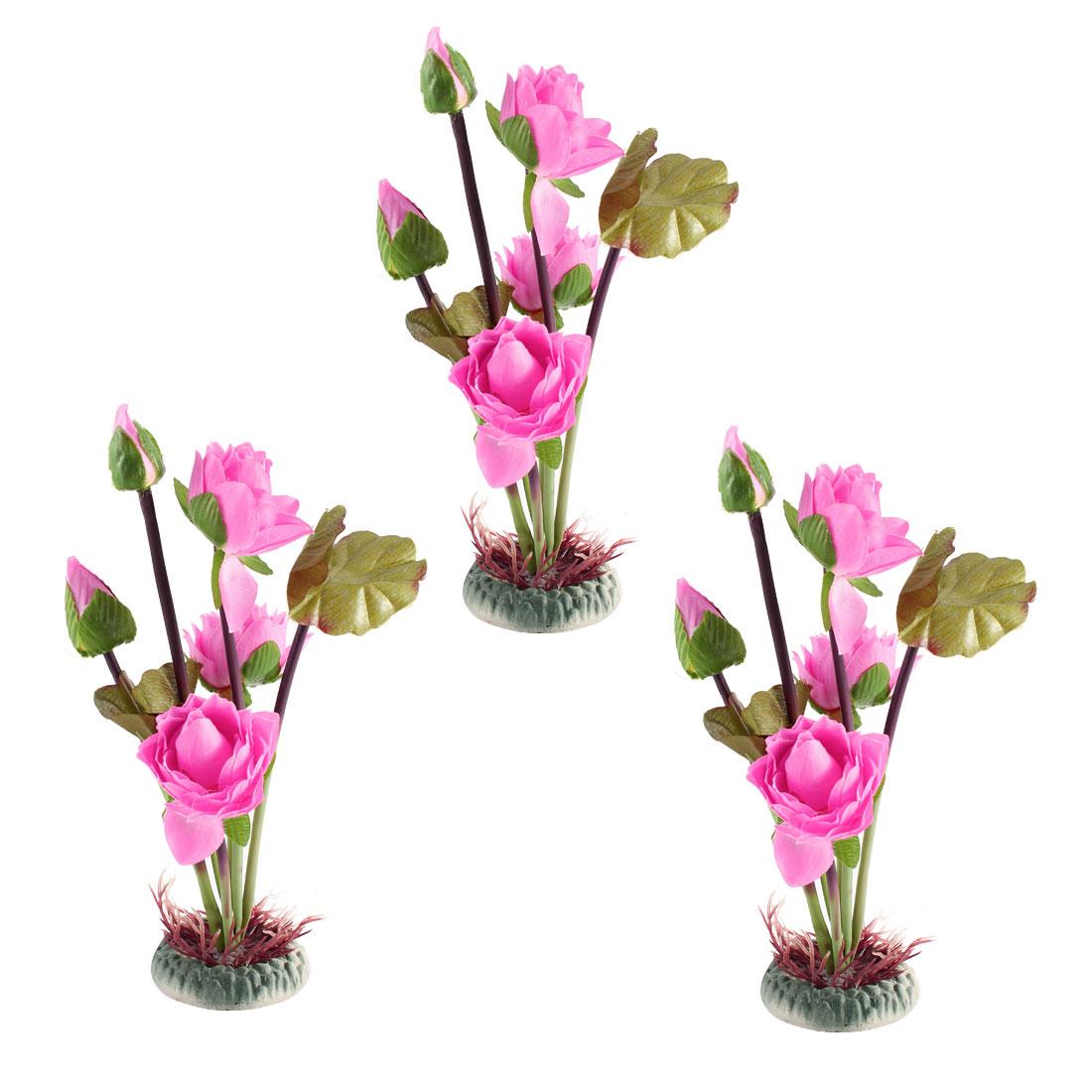 """3PCS 10"""" 25cm Height Green Pink Plastic Artificial Underwater Aquarium Plant Lotus Flower Decor"""