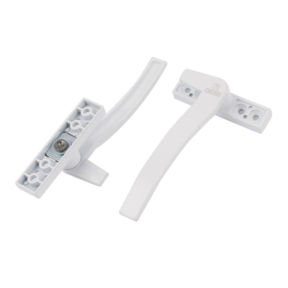 1Pair Left + Right Hand White Metal Casement Door Window Cabinet Locking Handle Grip Puller