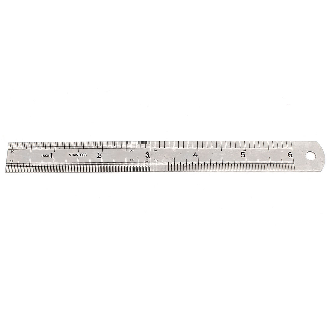 """15cm 6"""" Double Side Silver Tone Metal Metric Measuring Tool Straight Ruler"""