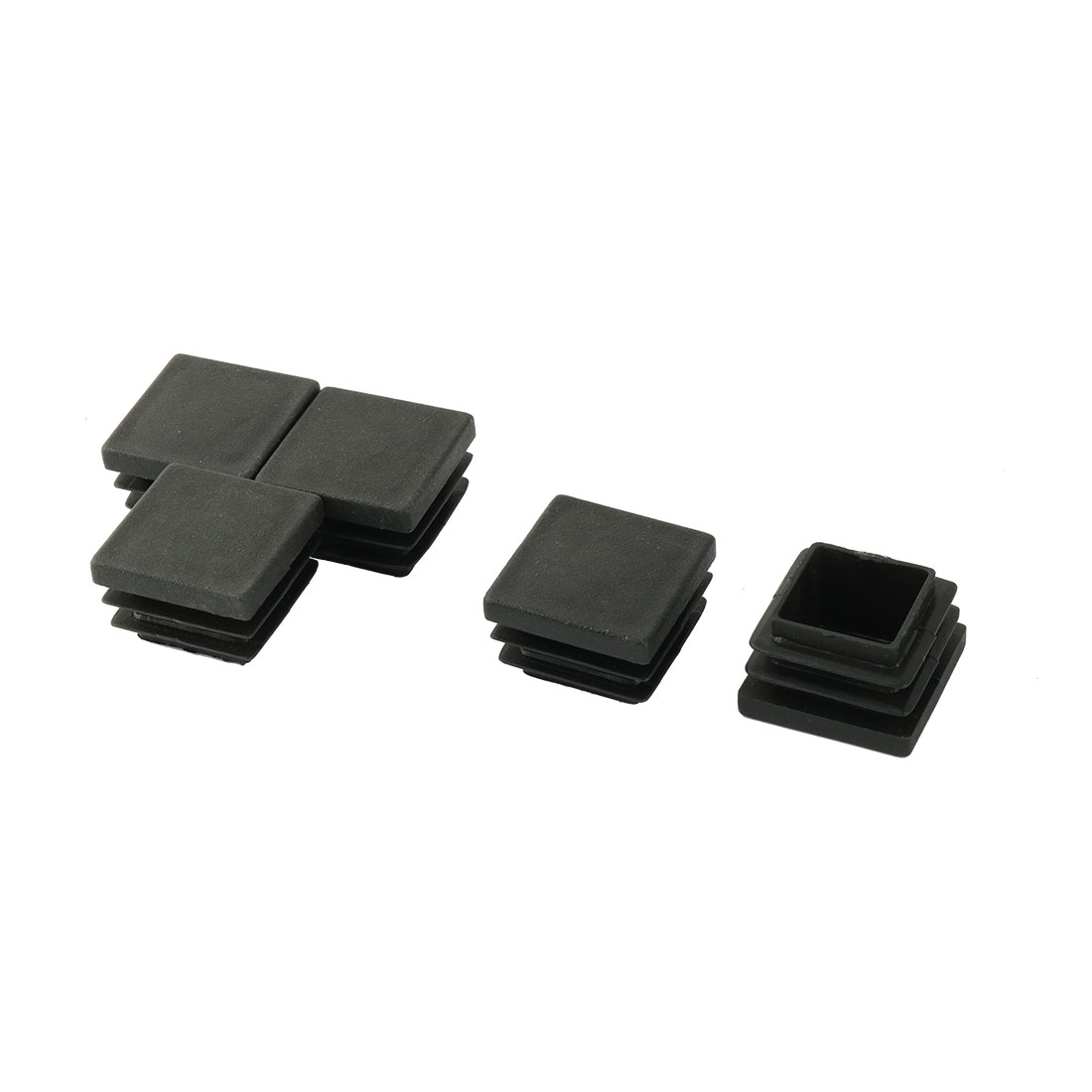 5pcs Black Plastic Square Tubing Tube Insert Caps for 3cmx3cm Table Chair Leg