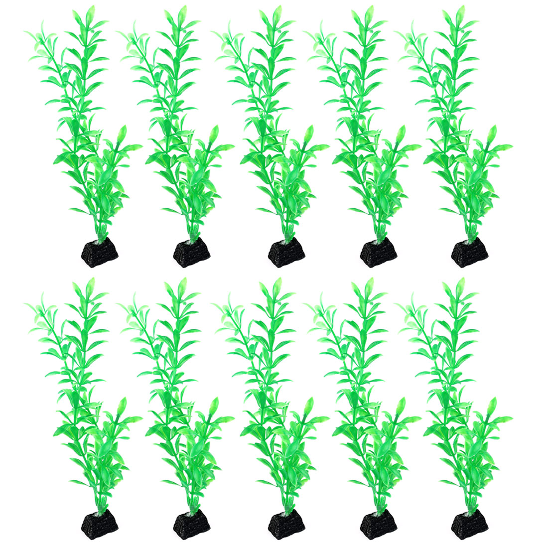 "10 PCS 10.3"" Height Green Plastic Artificial Underwater Grass Plant Decoration for Fish Tank Fishbowl"