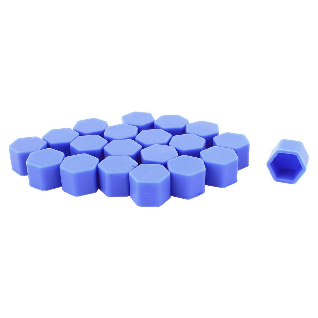 20Pcs Blue Silicone Car Wheel Hex Nuts Bolts Hub Screw Dust Covers Caps Protector 19mm