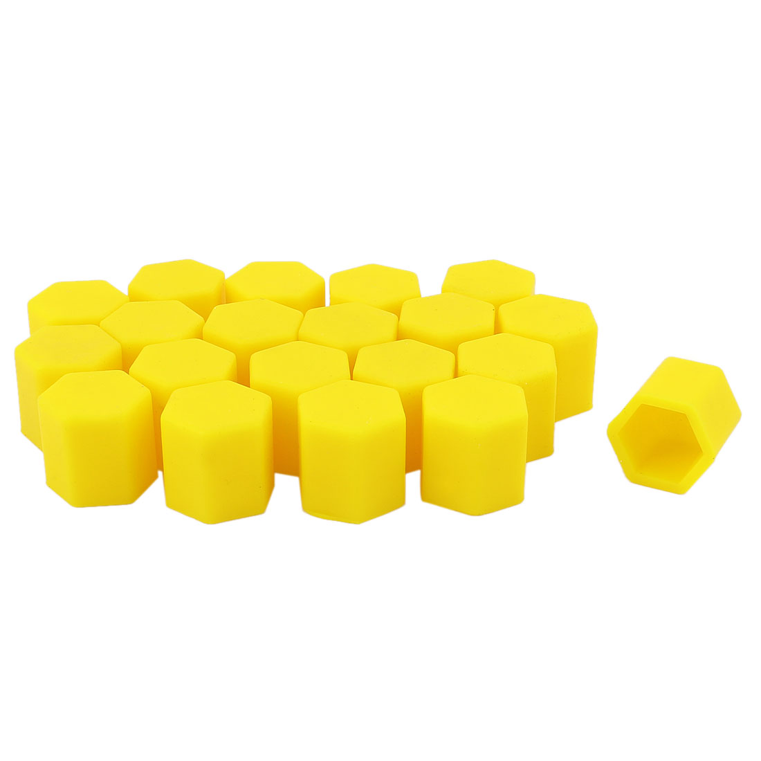 20Pcs Yellow Silicone Car Wheel Hex Nuts Bolts Hub Screw Dust Covers Caps Protector 17mm
