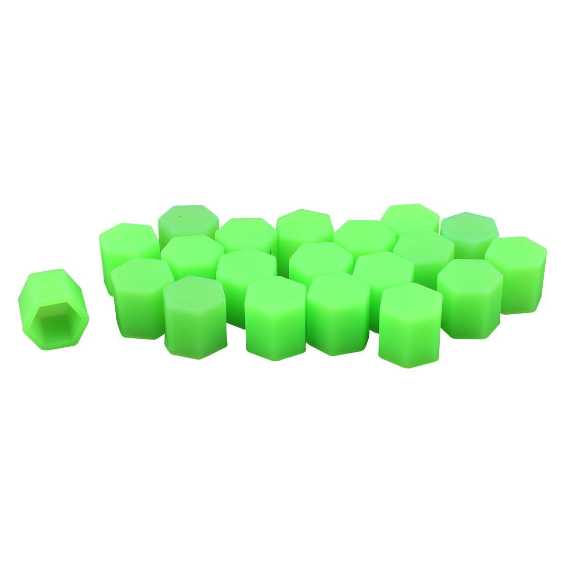 20Pcs Green Silicone Car Wheel Hex Nuts Bolts Hub Screw Dust Covers Caps Protector 17mm