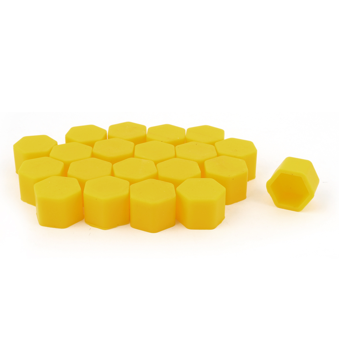 20pcs Yellow Silicone Car Wheel Tyres Hex Lugs Nuts Bolts Hub Screw Dust Covers Caps 19mm