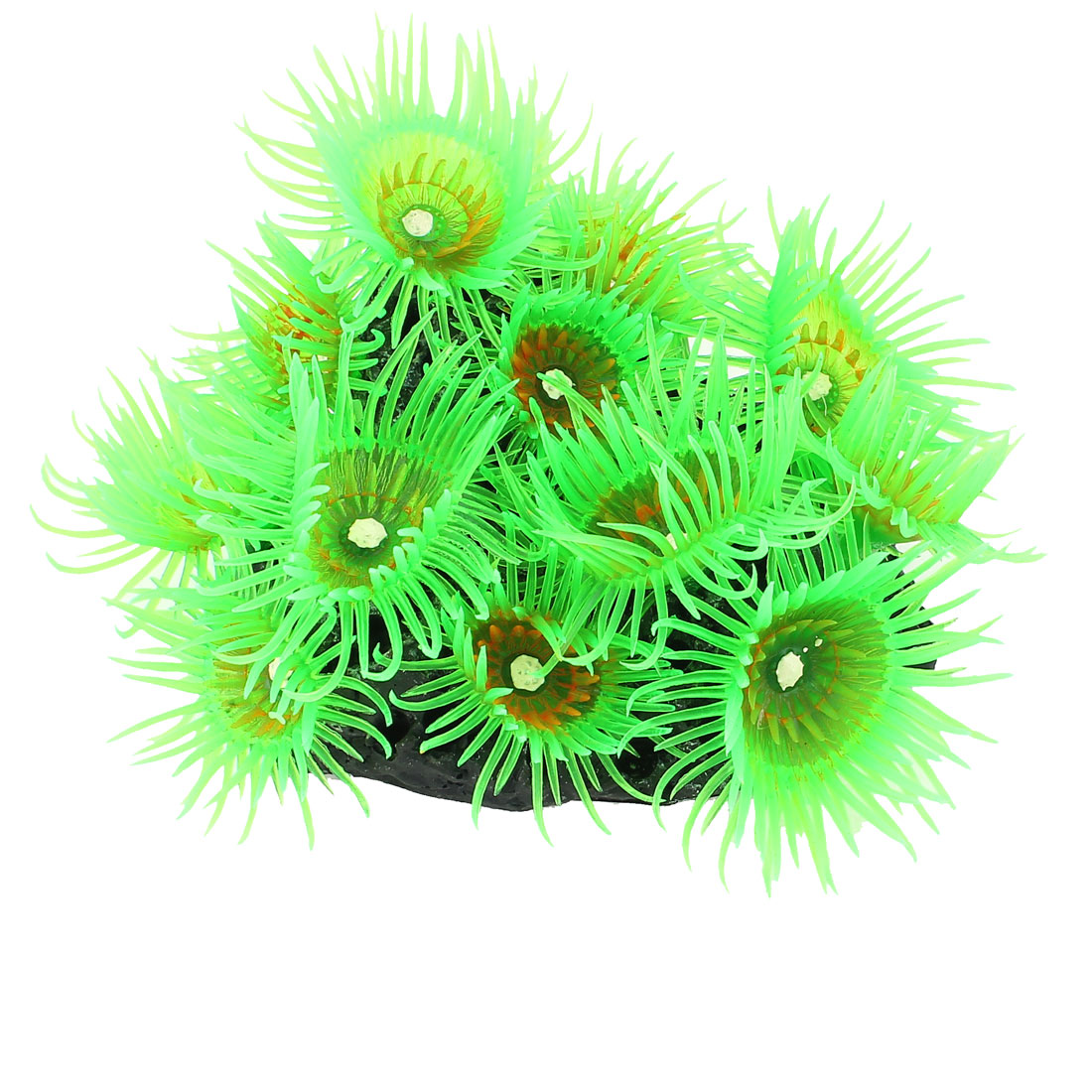 Fishbowl Aquarium Silicone Artificial Underwater Coral Sea Anemone Decor Green w Ceramic Base