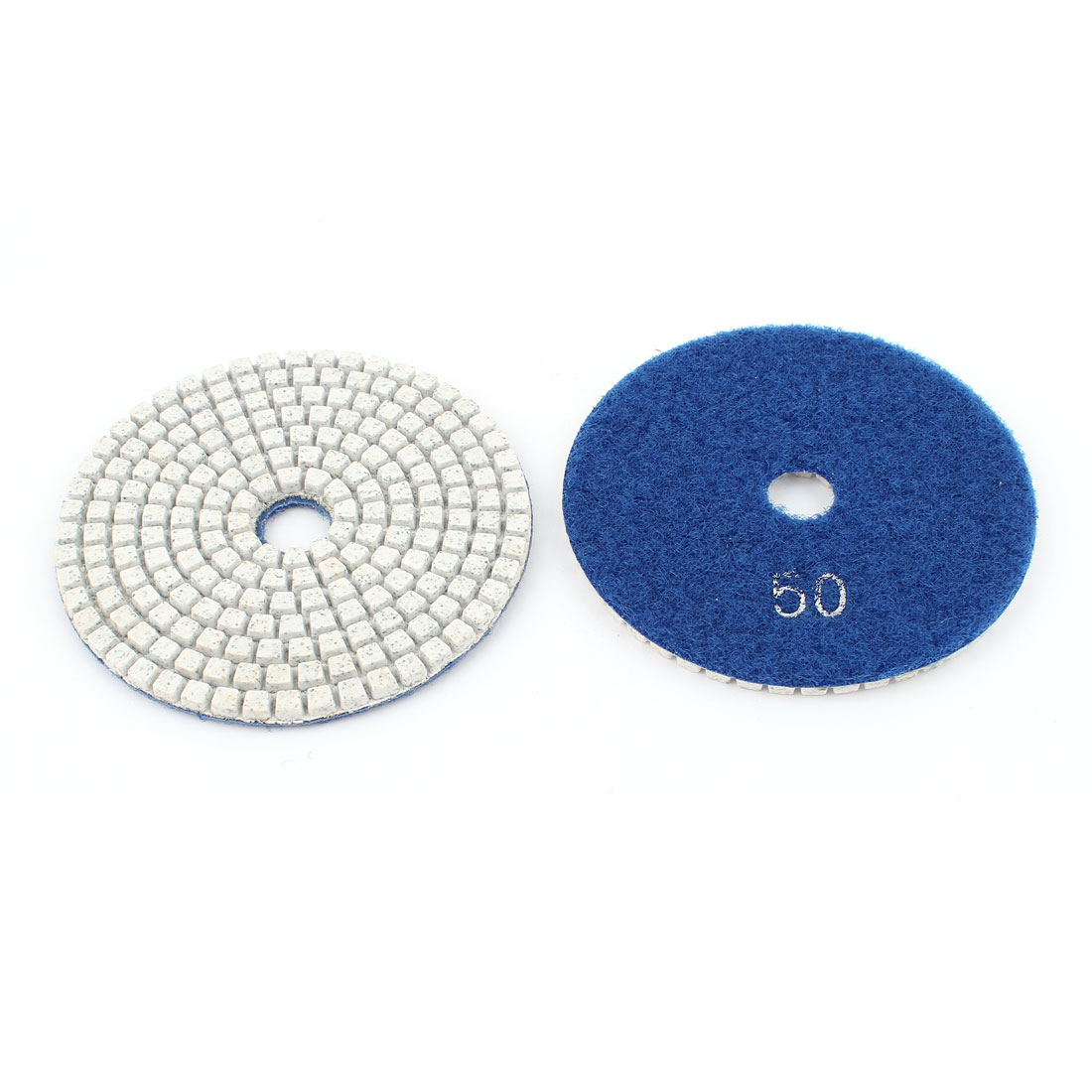 "2pcs 4"" 100mm Grits 50 Diamond Polishing Pads Blue for Wet Dry Granite Concrete Marble Glass Stone Sanding"