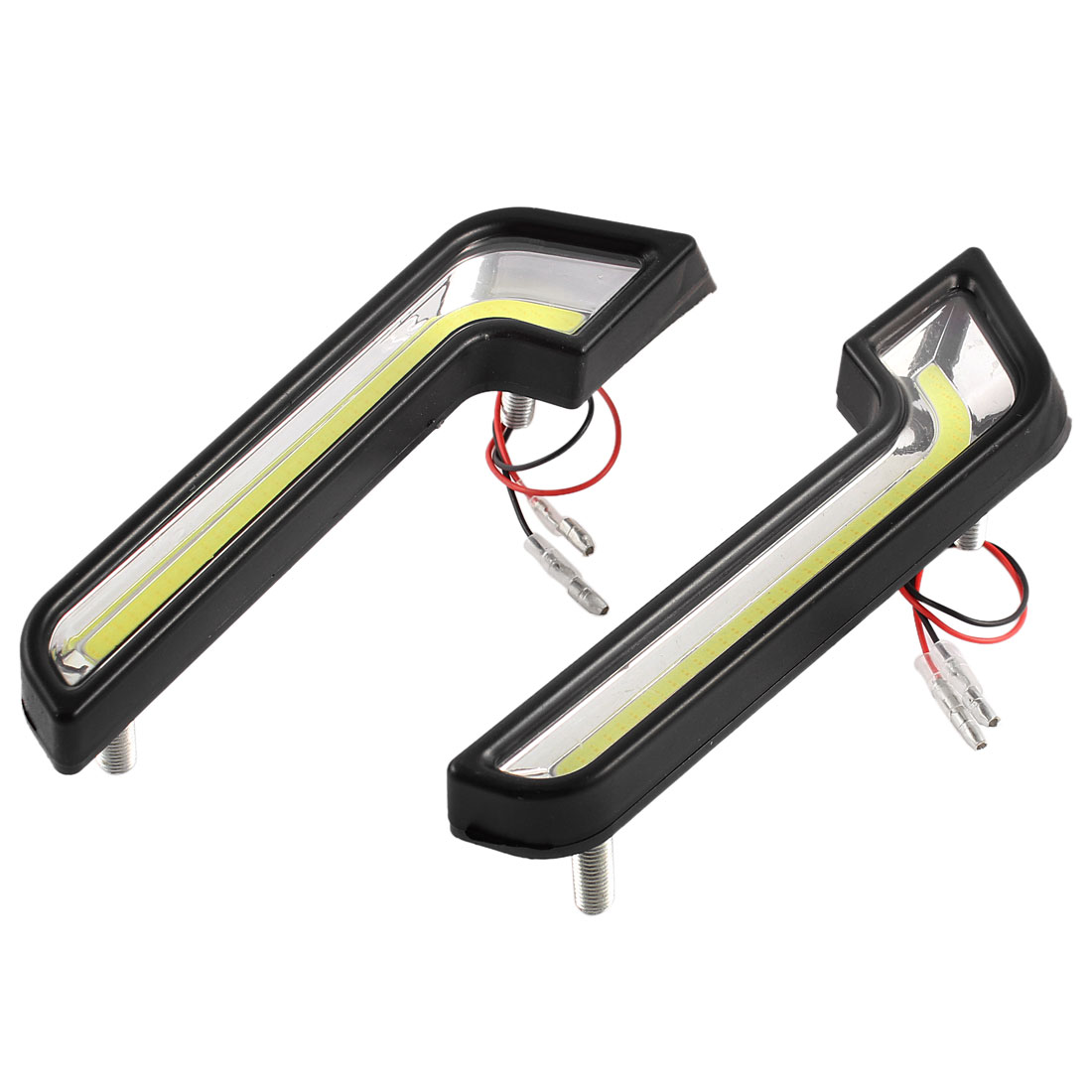 2 Pcs L Shaped Black Plastic Shell White COB LED Daytime Running Light for Car