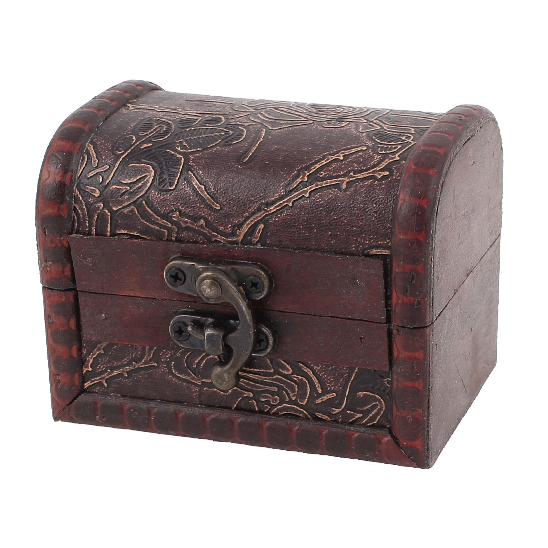 Flowers Print Antique Style Embossed Wooden Necklace Bracelet Case Box