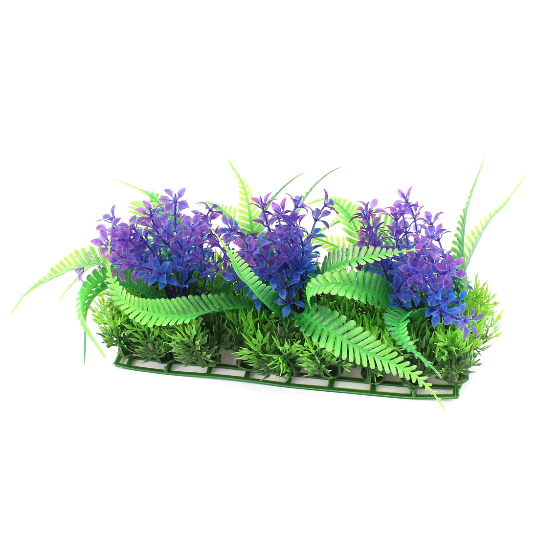 "Rectangle Base Plastic Emulational Aquarium Decoration 9.8"" Plant Grass Green Purple"