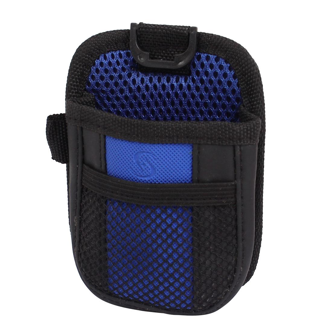 Automotive Mesh Design Phone Pocket Holder Storage Bag Black Blue