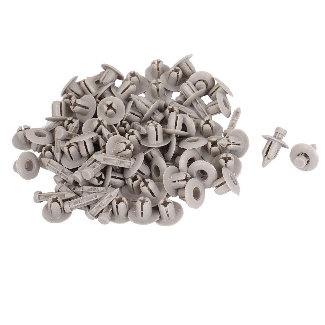 100 Pcs Gray Plastic Rivet Trim Fastener Moulding Clips 7mm x 14mm x 14mm