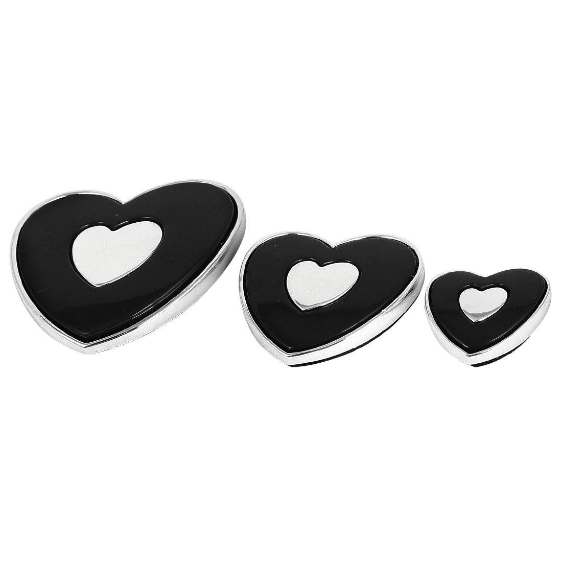 Car Silver Tone Black Plastic Heart Design Sticker Decal Decor 2 Sets