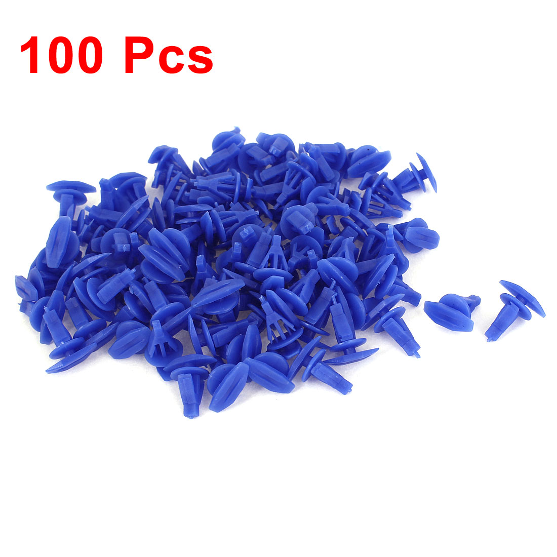 100 Pcs Blue Plastic Rivet Trim Fastener Moulding Clips 7mm x 9mm x 12mm