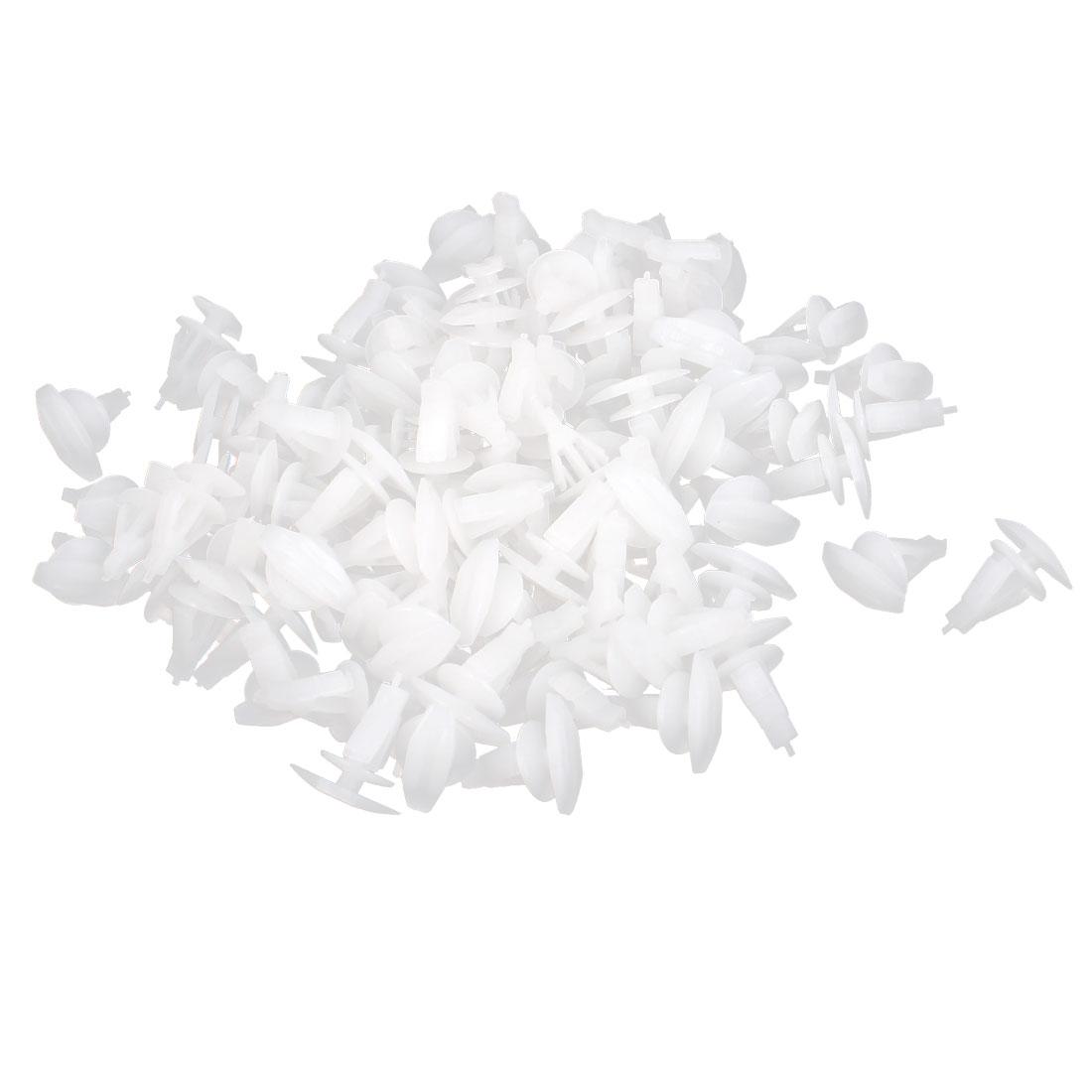 100 Pcs White Plastic Rivet Trim Fastener Moulding Clips 7mm x 9mm x 12mm