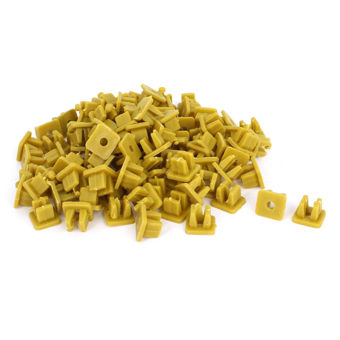100 Pcs Khaki Plastic Rivet Trim Fastener Moulding Clips 4mm x 7mm x 10mm