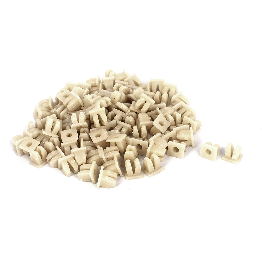 100 Pcs White Plastic Rivet Trim Fastener Moulding Clips 5mm x 9mm x 12mm