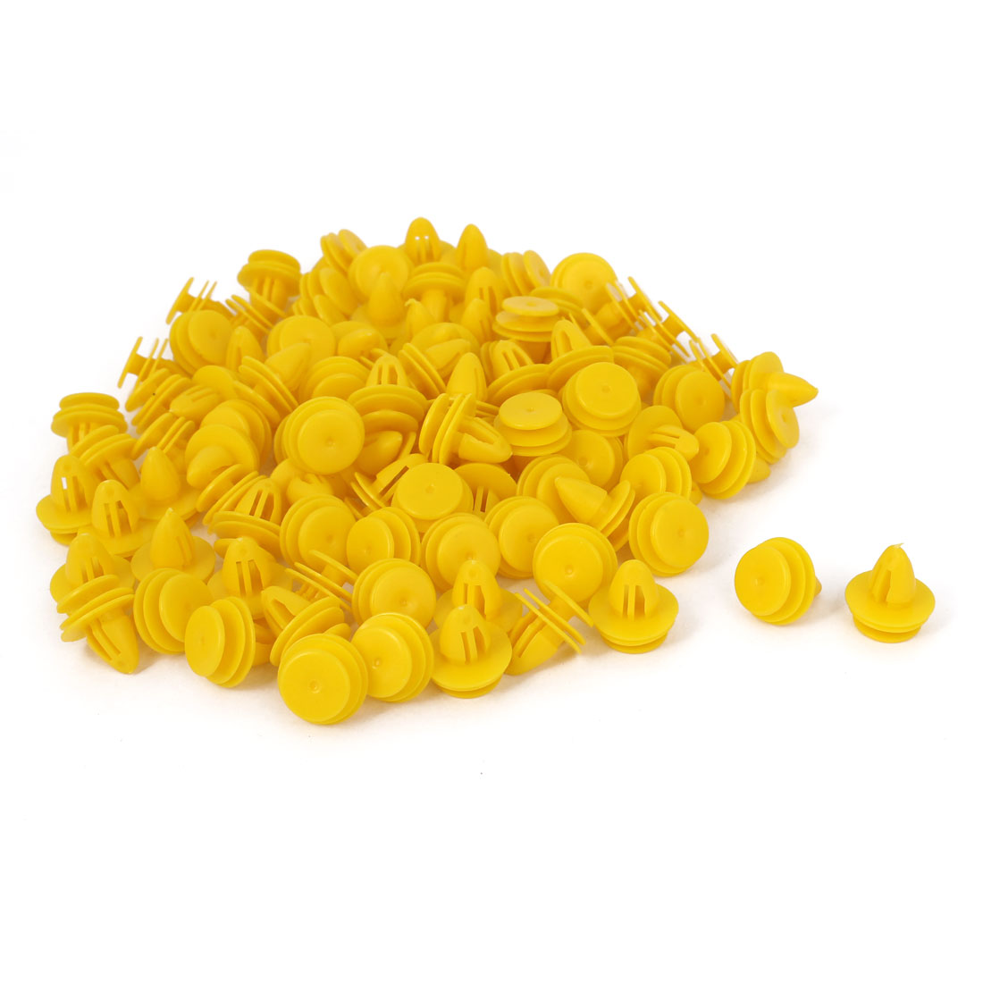 100 Pcs Yellow Plastic Rivet Trim Fastener Moulding Clips 9mm x 11mm x 15mm