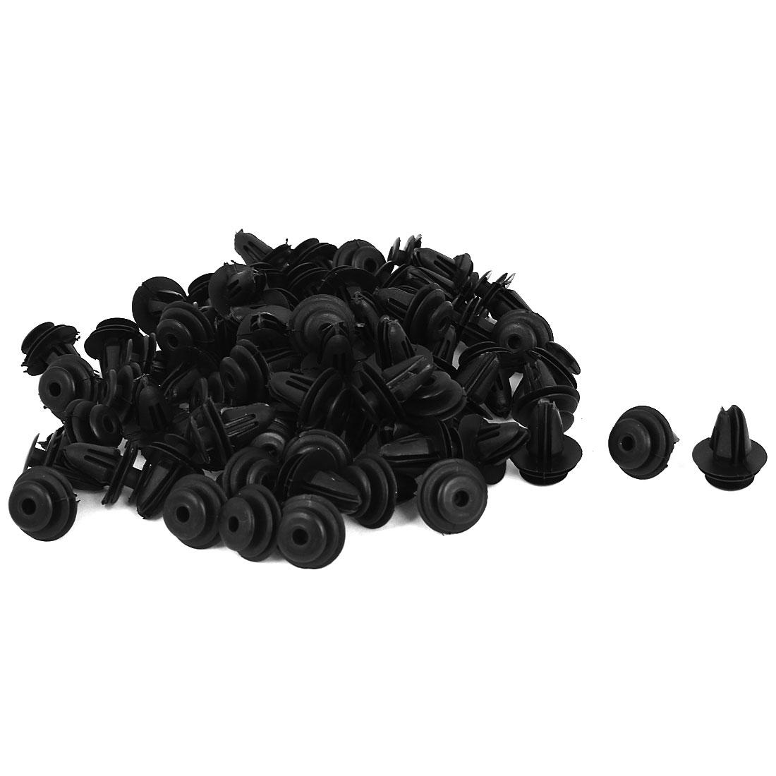100 Pcs Black Plastic Rivet Trim Fastener Moulding Clips 9mm x 15mm x 18mm