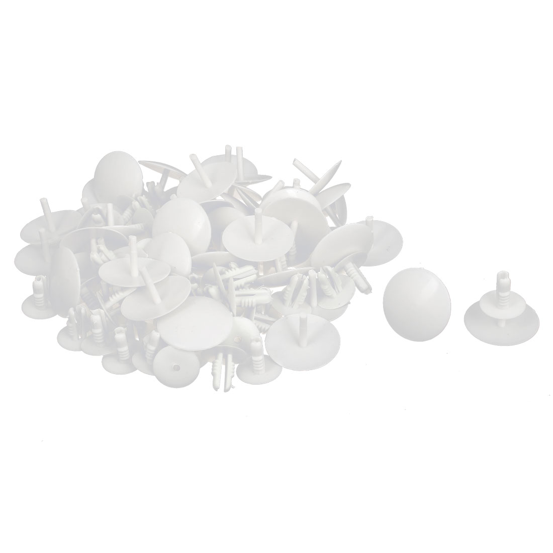 50 Pcs White Plastic Rivet Trim Fastener Moulding Clips 8mm x 14mm x 30mm