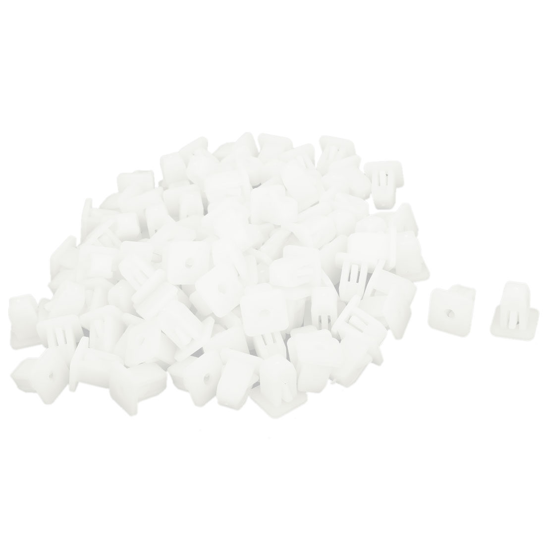 100 Pcs White Plastic Rivet Trim Fastener Moulding Clips 4mm x 13mm x 14mm