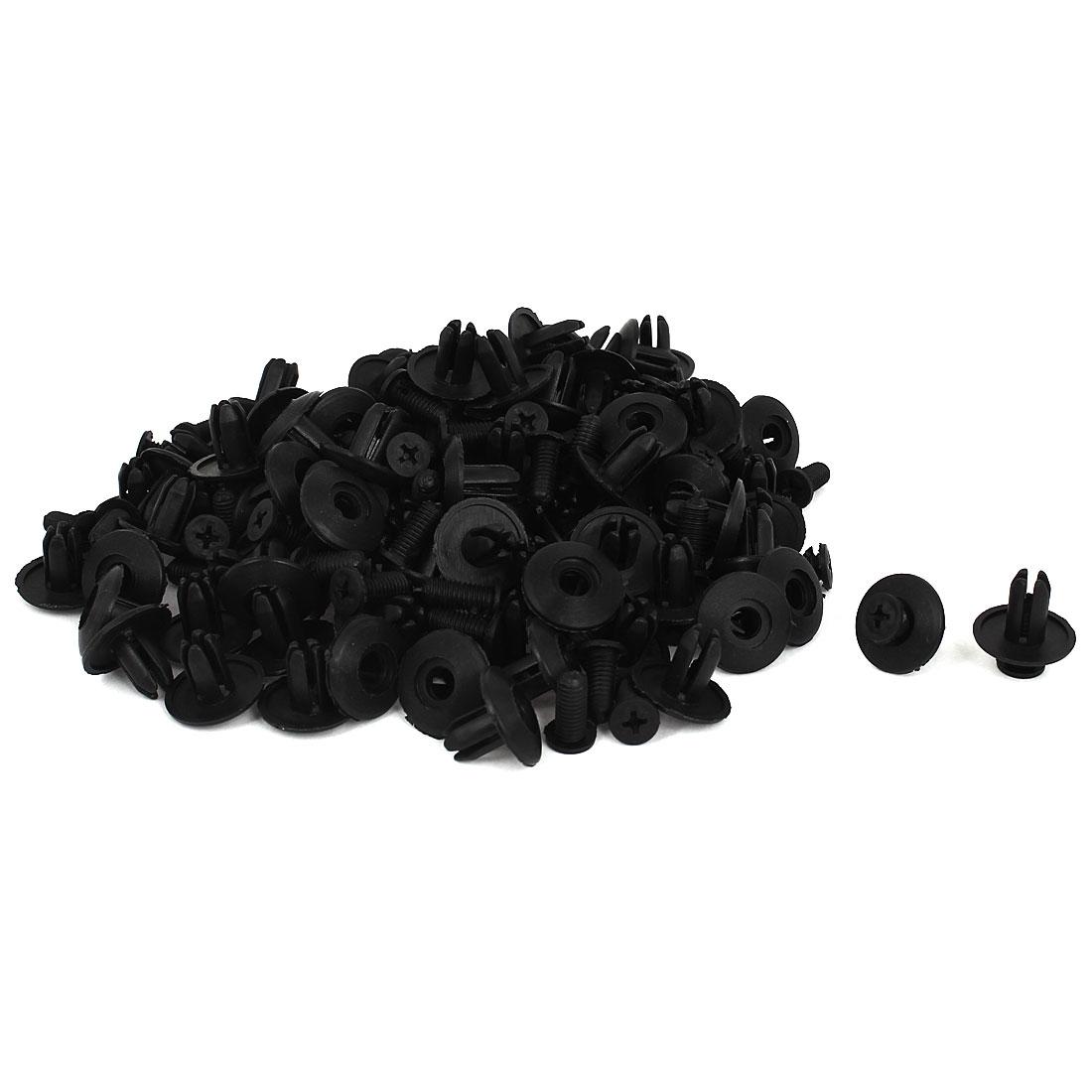 100 Pcs Black Plastic Rivet Trim Fastener Moulding Clips 7mm x 13mm x 20mm
