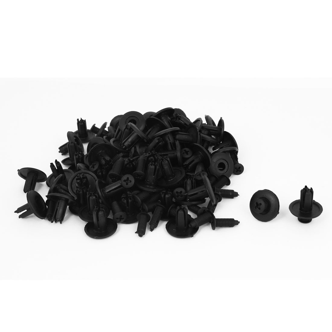 100 Pcs Black Plastic Rivet Trim Fastener Moulding Clips 7mm x 16mm x 21mm