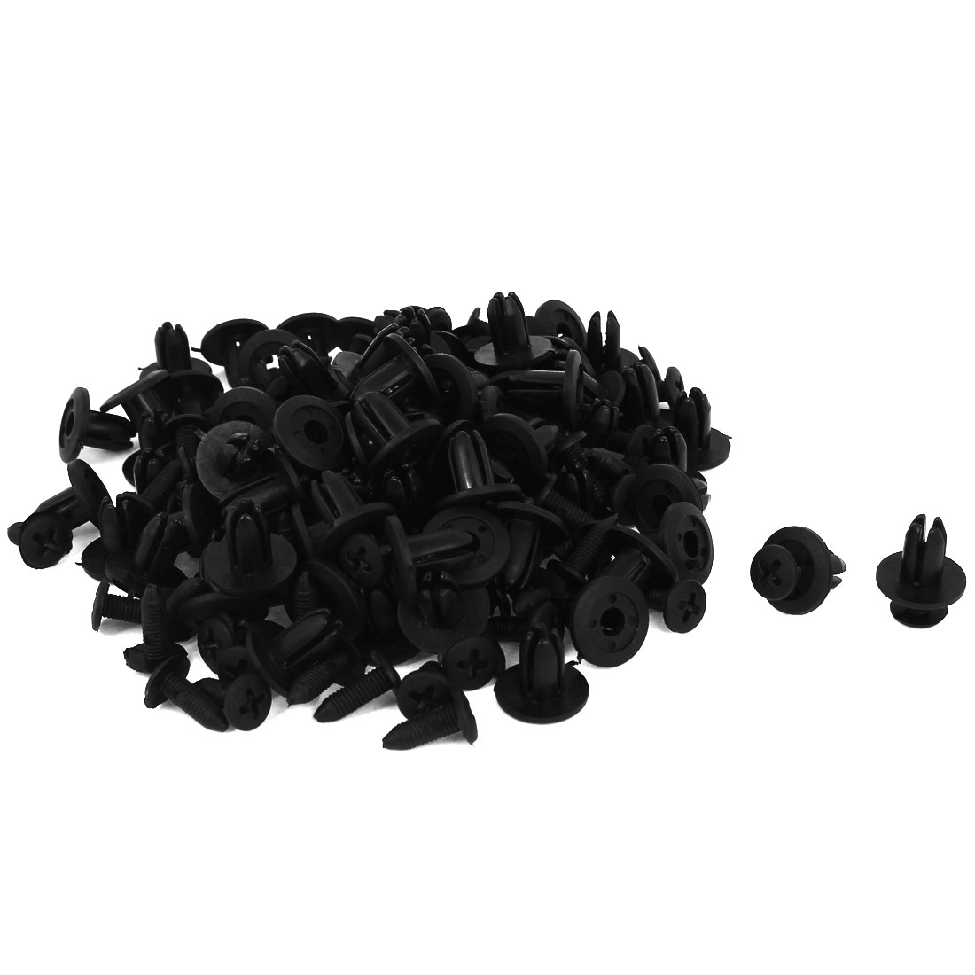 100 Pcs Black Plastic Rivet Trim Fastener Moulding Clips 7mm x 11mm x 15mm