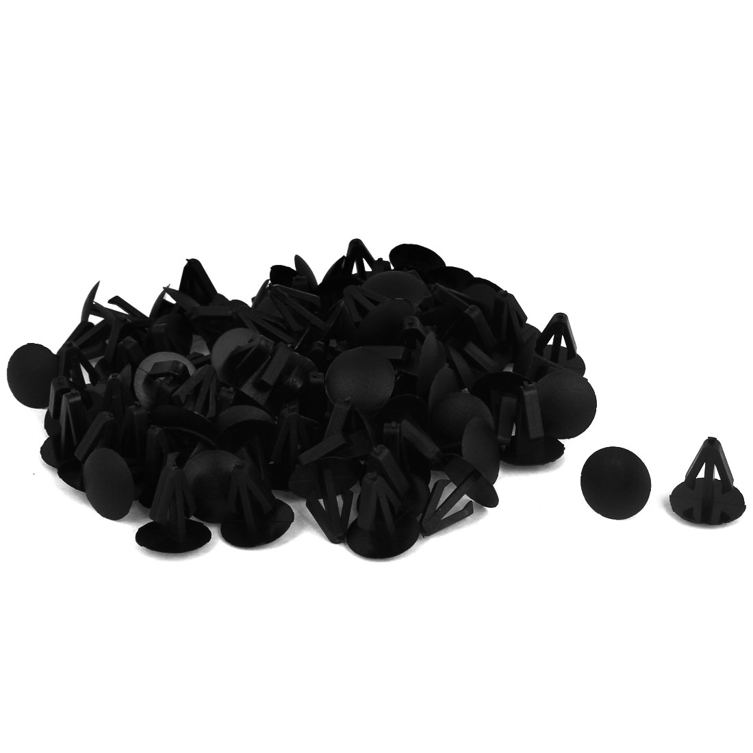 100 Pcs Black Plastic Rivet Trim Fastener Moulding Clips 9mm x 14mm x 14mm