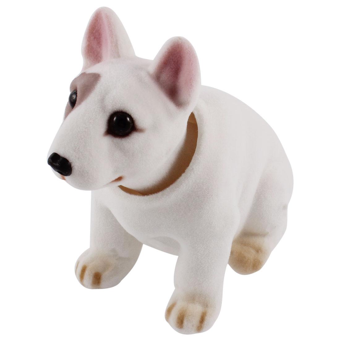 Car Dog Shape Nod Nodding Bobblehead Dashboard Ornament White