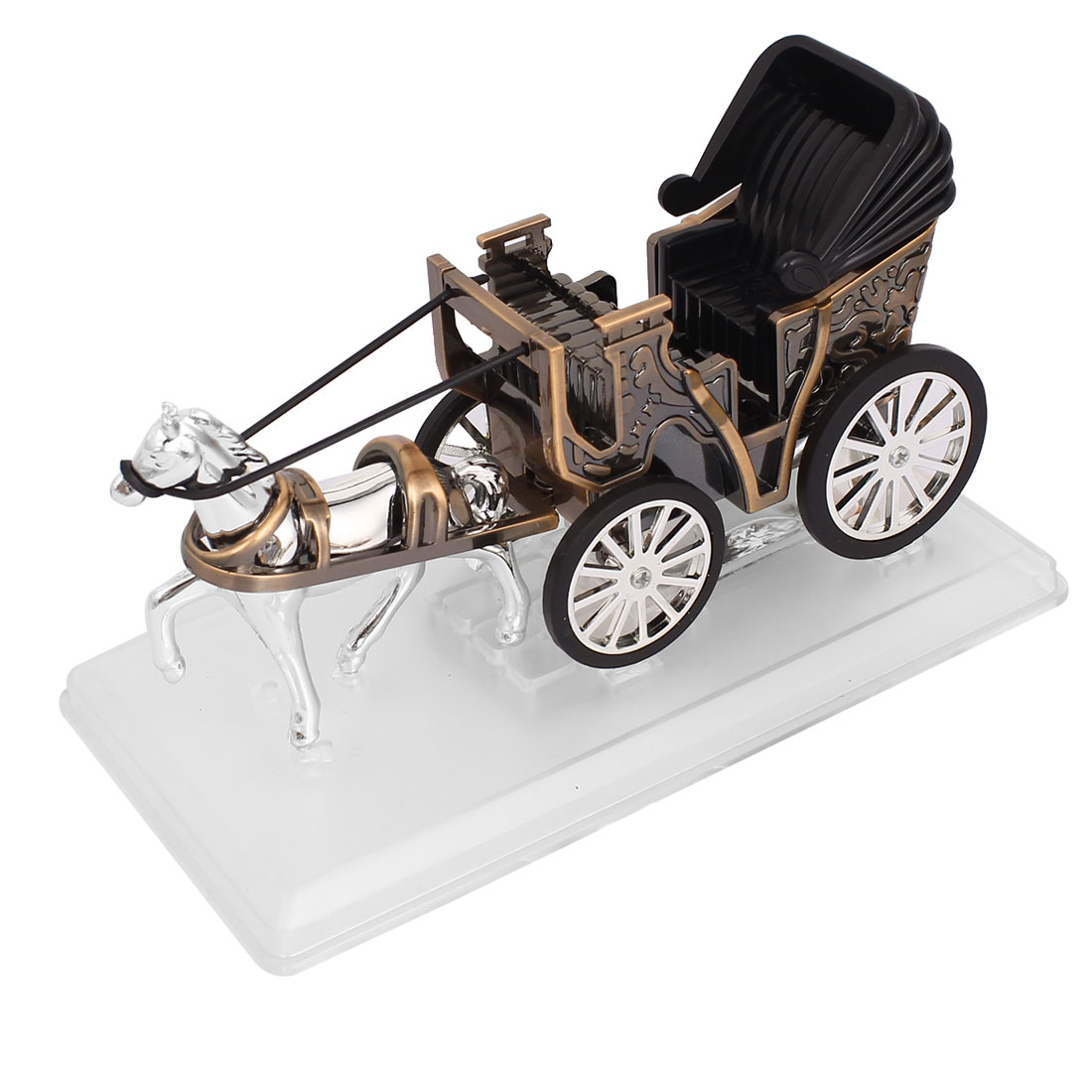 Carriage Shaped Car Perfume Block Base Accessary Decoration Red Bronze Tone