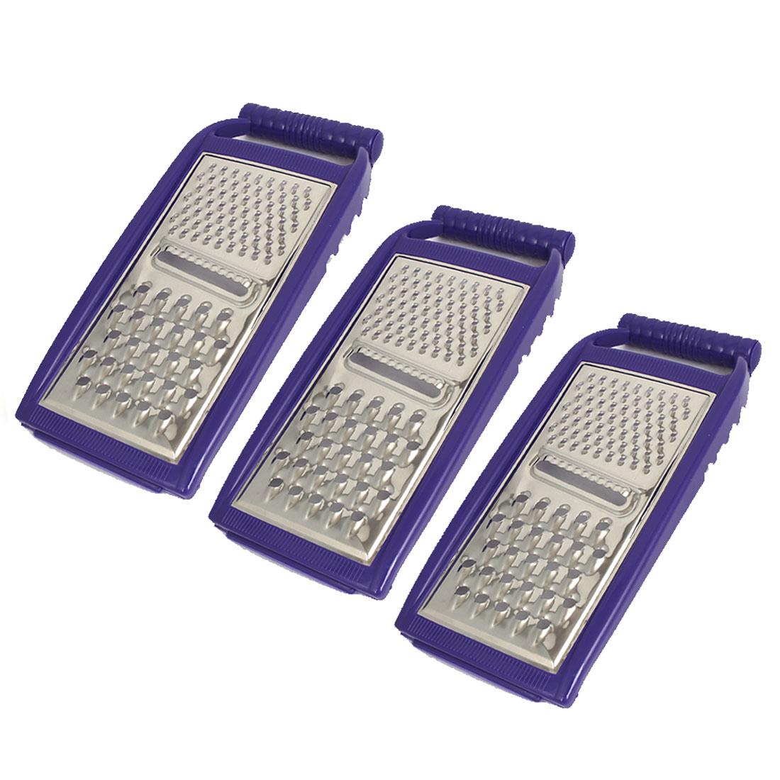 Blue Plastic Frame Metal Potato Carrot Shredder Grater Peeler Kitchenware 3pcs