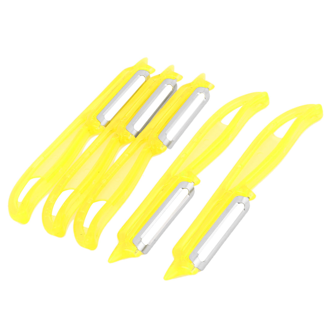 Kitchen Yellow Plastic Handle Apple Potato Fruit Vegetable Peeler Parer 5pcs