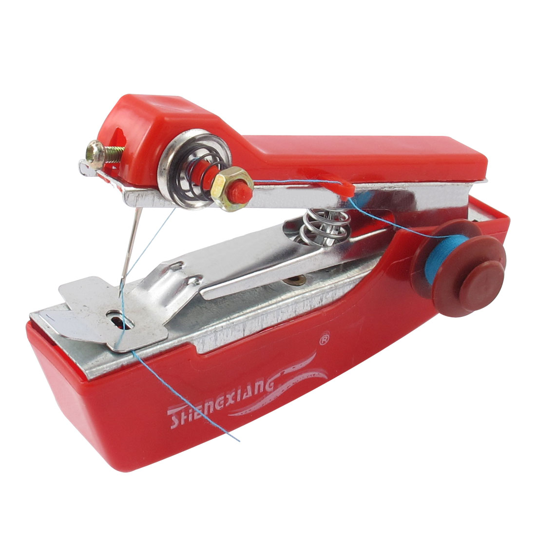 Home Portable Mini Handy Clothes Fabric Handheld Sewing Machine Red