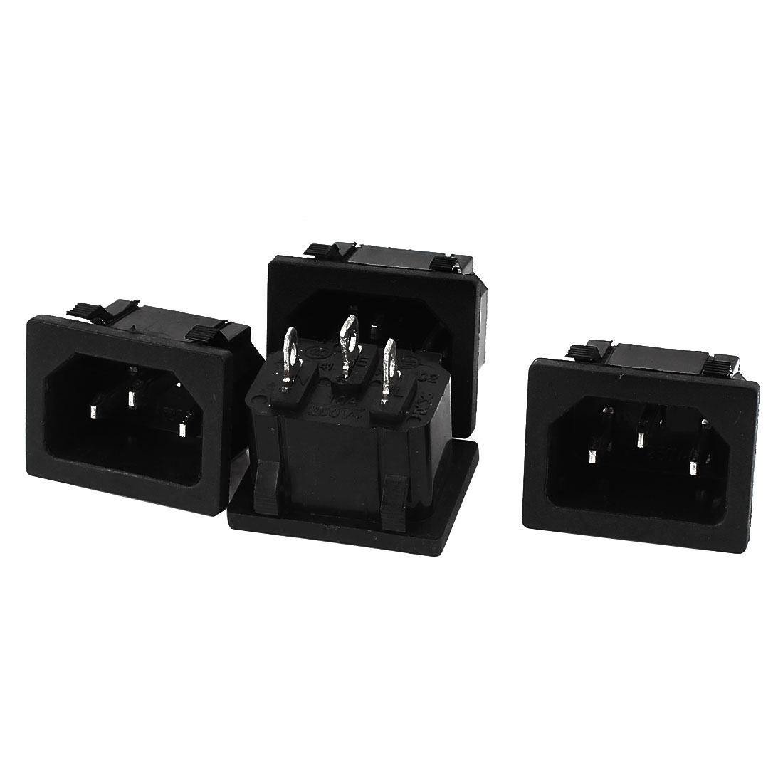 AC 250V 10A 3 Terminal Snap Mount IEC320 C14 Power Socket Adapter 4pcs