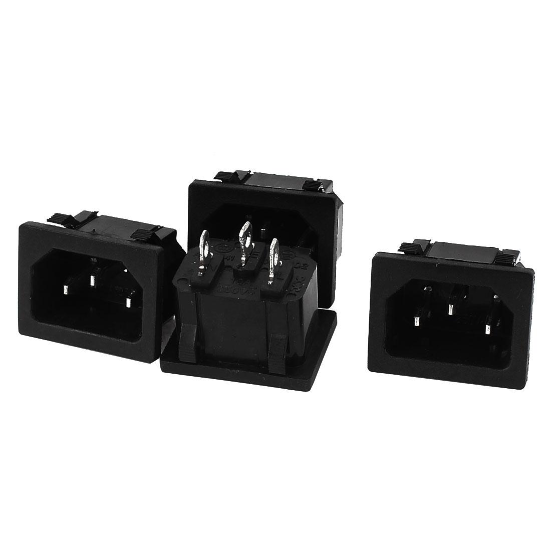 AC 250V 10A 3 Terminal Snap Mount IEC320 C14 Power Socket Adapter 4pcs