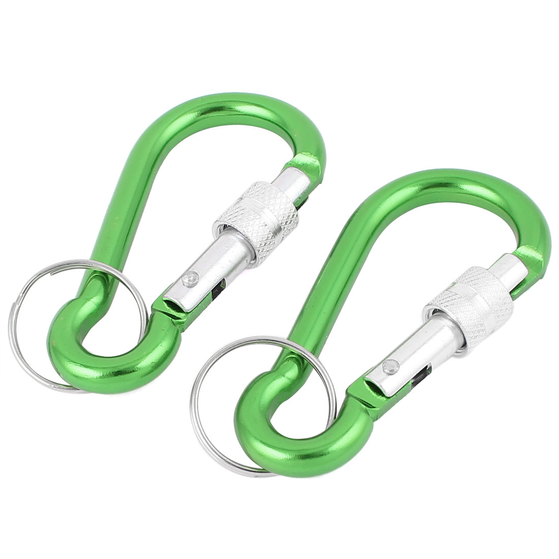 Camping Hiking Keyring Carabiner Clip Sping Snap Hook Karabiner Green 2pcs