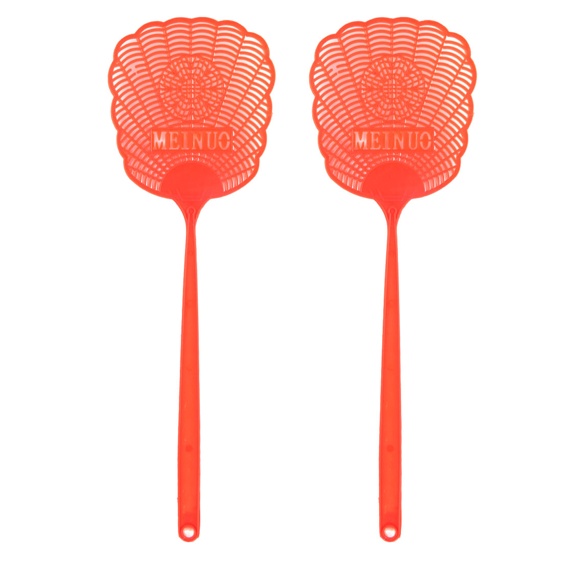 Red Plastic Hollow Out Flower Mosquito Cockroach Fly Swatter Catcher 2 Pcs