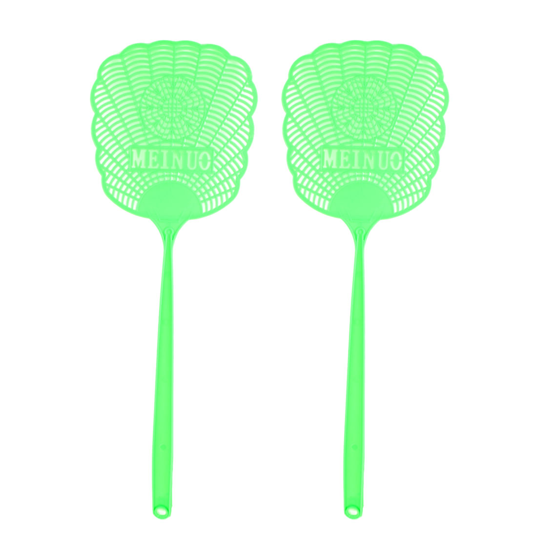 Green Plastic Hollow Out Flower Mosquito Cockroach Fly Swatter 2 Pcs