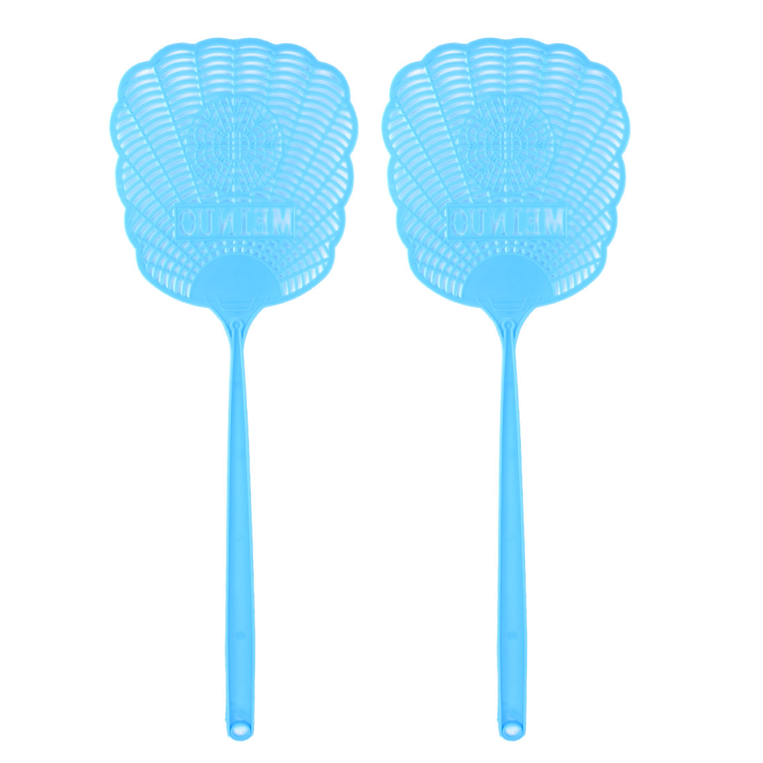 Blue Plastic Hollow Out Flower Mosquito Cockroach Fly Swatter 2 Pcs
