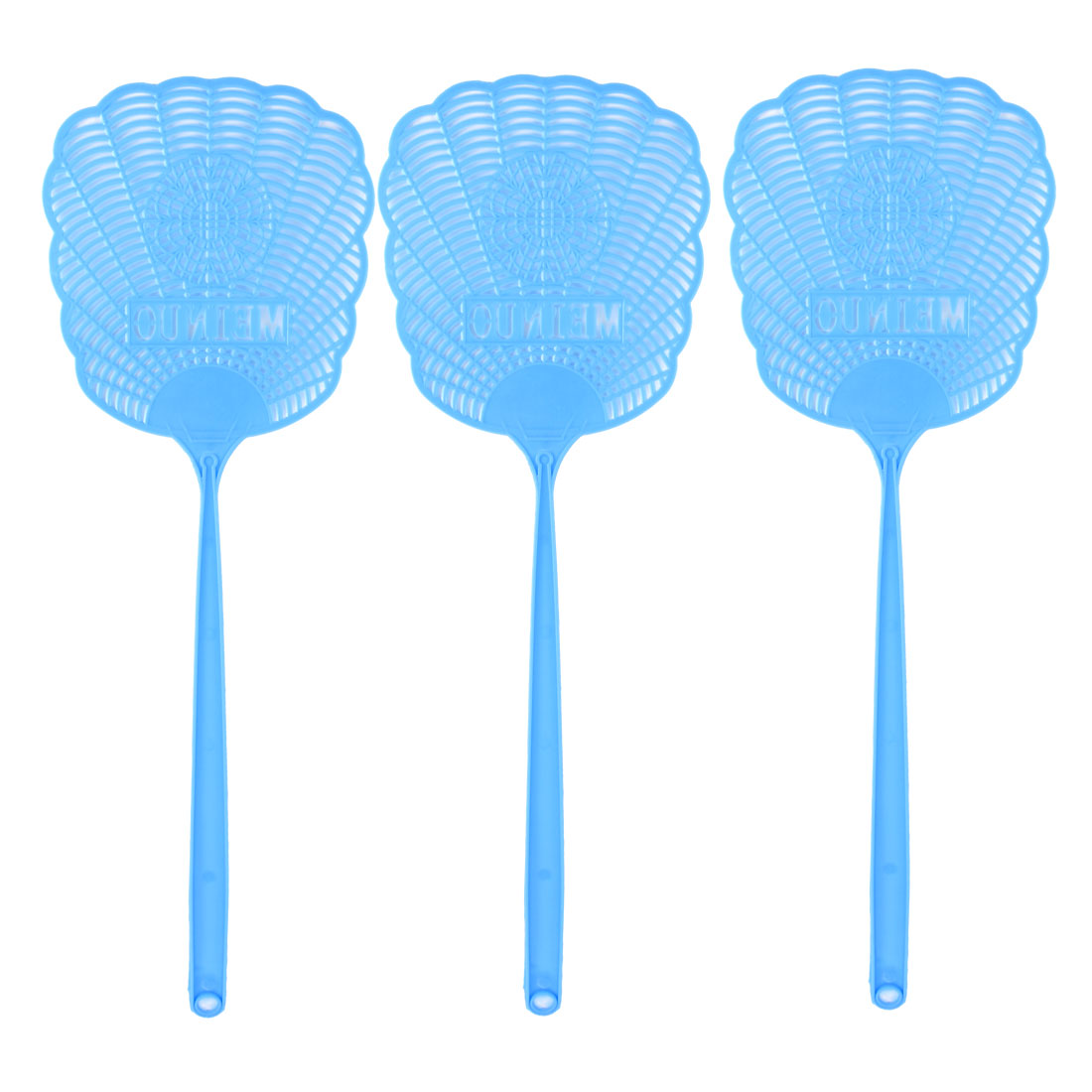 Blue Hollow Out Flower Plastic Mosquito Cockroach Fly Swatter 3 Pcs